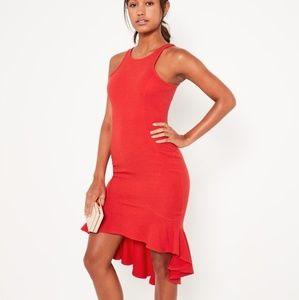NWT Missguided Red Flutter High Low Dress